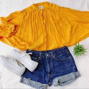 MAEVE | Med | Yellow Batwing Button Up Blouse